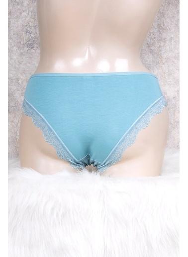 Anıl Kadın Desenli Dantelli Bikini Slip Külot Yeşil